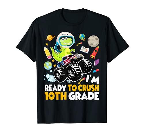 Estoy listo para aplastar el décimo grado Monster Truck dinosaurio Astro Camiseta