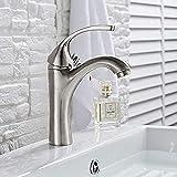 Badarmatur Gebürstet Moderne Waschtischarmatur Mischbatterie Aufputzarmatur Einlochmontage Kran Kalt- und Warmwasser