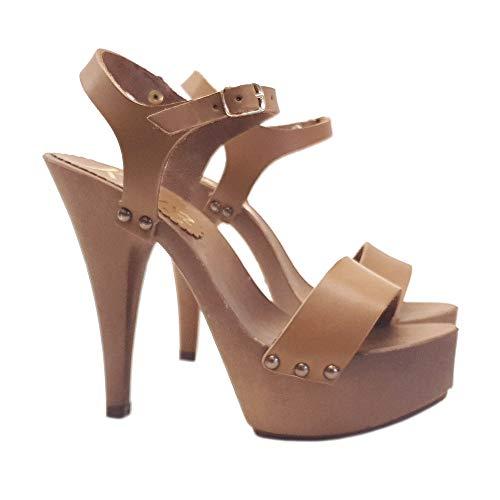Damenclogs mit Riemen - Heel 13 - K9310 CUOIO
