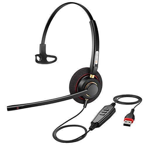 USB Headset with Microphone Noise Cancelling& Audio Controls Ultra Comfort Computer Headset for Business Skype UC Webinar Call Center Office-Mono