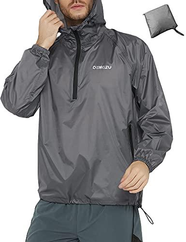 DEMOZU Men's Cycling Running Rain Jacket Lightweight Waterproof Reflective Packable Hooded Bike Windbreaker Jacket, Grey, L