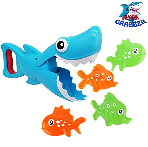 Bath Toys Cute Shark Grabber Bathroom Toy Great White Shark with Teeth Biting Action for Kids