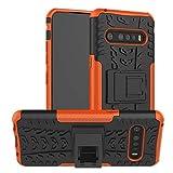 TiHen Handyhülle für LG V60 Hülle, 360 Grad Ganzkörper Schutzhülle + Panzerglas Schutzfolie 2 Stück Stoßfest zhülle Handys Tasche Bumper Hülle Cover Skin mit Ständer -Orange