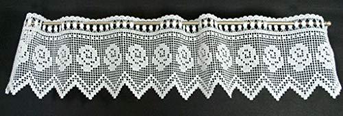 Gordijn half gordijn haak 15 cm hoog   Breedte vrij te selecteren in 16 cm stappen via hoeveelheid gekocht   Kleur: wit   Netto gordijnen cafe keuken