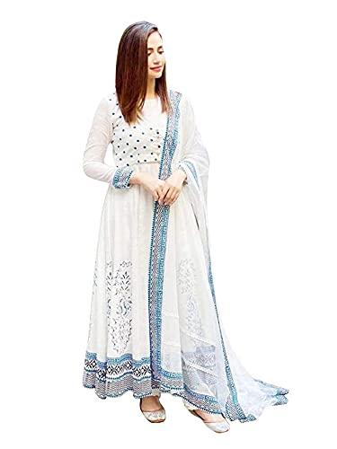 AESTHETIC PARADIGM Women's Soft Rayon Printed White Color Anarkali Kurti with Dupatta (XX-Large)