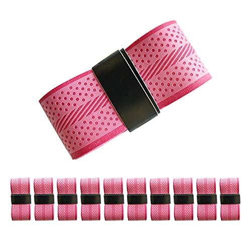 FOIROKASA ラケット用グリップテープ 10本セット 薄いタイプ 波紋付き滑り止め 通気 衝撃吸収 吸汗 テニス用品 バトミントン用 野球用 ゴルフ用 多用途 ピンク