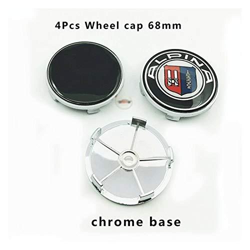 TUQYED Tapa del Centro de la Rueda para 4pcs 68mm Compatible con BMW Car Hub Hub Logo Cap Cop Auto Rueda Centro Emblema Cubierta Etiqueta de la Etiqueta ABS Base de Cromo ABS (Color : Full Black)