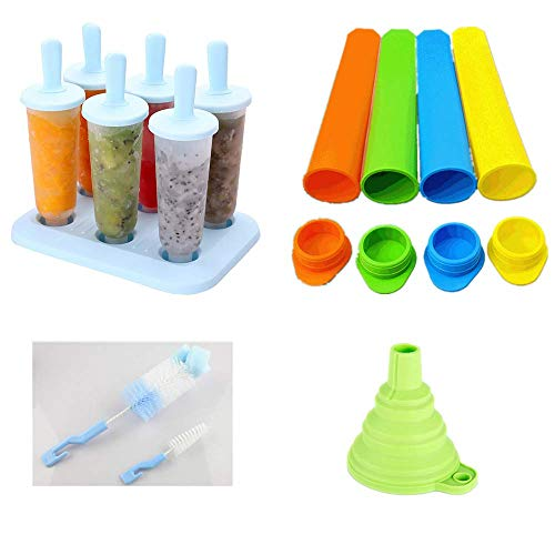 2 moldes de silicona con tapa, 6 + 4 orificios, moldes de silicona para hacer helados, de colores, sin BPA, reutilizables, con embudo de limpieza