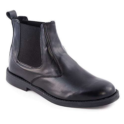 Toocool – Zapatos de Hombre Chelsea Botines Elástico Auténtico Piel Made Italy GI-0680 Negro Size: 45 EU