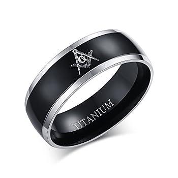 MPRAINBOW Men s Freemason Masonic Band Ring Titanium Wedding Engagement Band Ring,Size 9-12