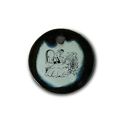 """Muy bonito colgante de cerámica """"La Bella Durmiente, cuentos de hadas, hermanos Grimm"""" jaspeado en marrón-azul-verde;"""