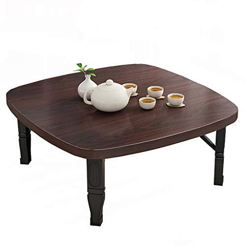 Mesa plegable GJ, mesa de comedor cuadrada/mesa baja de estilo japonés/mesa de estudio/escritorio pequeño, para sala de té Tatami dormitorio, 7 colores (color: A, tamaño: 60 x 60 x 35 cm)