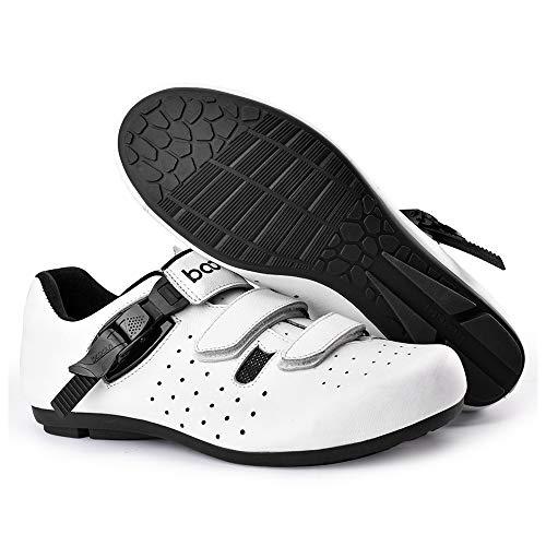 KUXUAN Calzado De Ciclismo para Hombre,Calzado De Ciclismo Sin Candado Invierno Calzado Deportivo De Montaña Y Carretera para Hombre Y Mujer Calzado De Refuerzo para Bicicleta,White-44EU