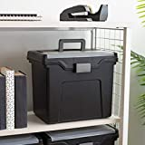 IRIS USA, Inc. HFB-24E-TOP Portable Letter Size File Box with Organizer Lid, 4 Pack, Black, Large, Model:586450