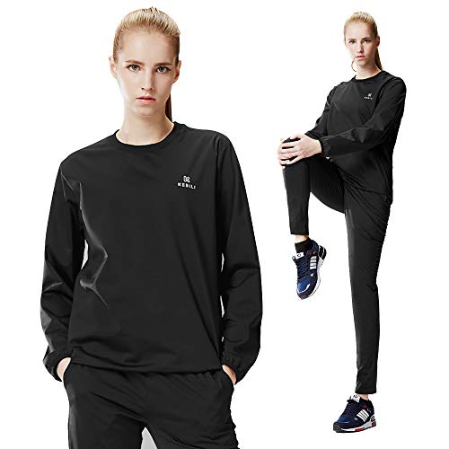 KEBILI Sauna Suit Women Weight Loss Gym Fitness Exercise Workout Sweat Training Black Suit Top  2XL/Pants  2XL