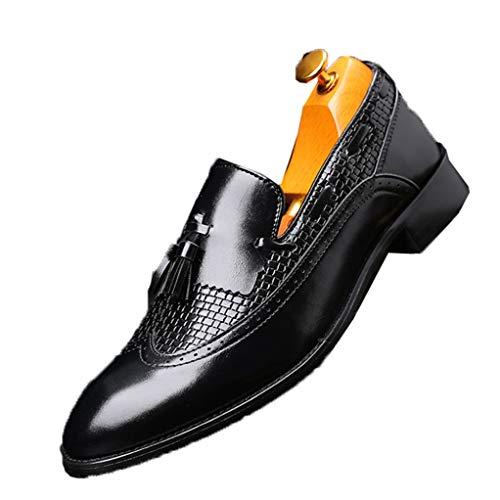 Mocasines con borlas de Cuero para Hombres Zapatos Casuales Retro con Punta Puntiaguda Formal Oxfords Business Wedding Slip on Dresss Shoes