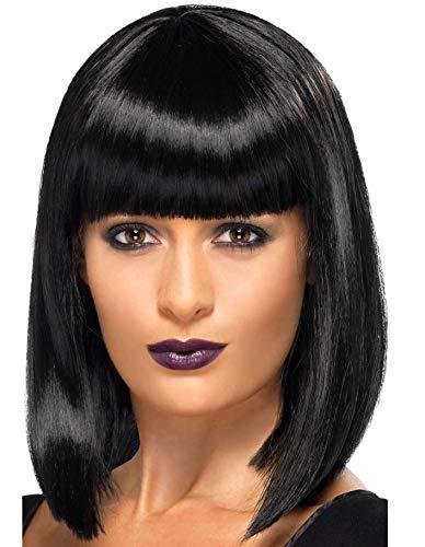 Parrucca corta da donna, con parrucca sintetica dritta (nero naturale)