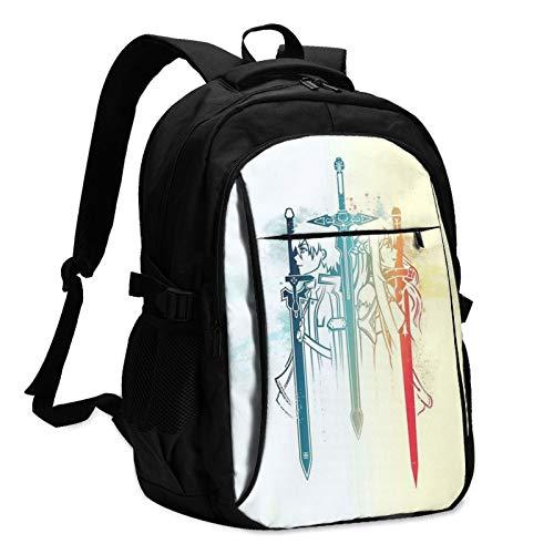 Sword Art Online - Zaino USB per computer portatile vintage resistente all acqua, per viaggi e scuola, adatto per notebook da uomo e donna
