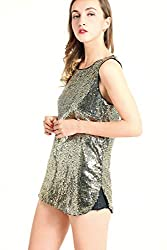 Matte Gold Sleeveless Camisole Vest Sequin Tank Tops