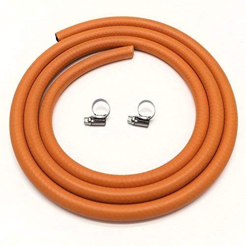 CALOR Gas Brand 2mt 8mm Orange LPG Gas Hose for Propane/Butane with Clips