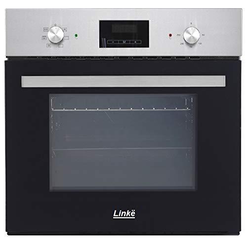 LINKË 3760270151556 Electrique Chaleur tournante | Four encastrable Profondeur 55 cm | Noir et INOX | 4 Fonctions | LKFOEC5X | Linke, 57 liters