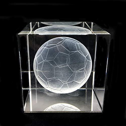 3D-Fußball-Briefbeschwerer (lasergraviert) in Kristallglas-Würfel, Geschenk für Abschluss, Weihnachten, Geburtstag, Valentinstag (Fußball)