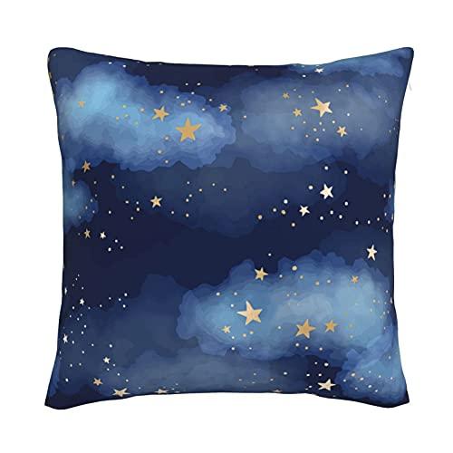 Mxswru Funda de cojín de terciopelo de noche estrellada, decorativa, cuadrada, funda de almohada de 50,8 x 50,8 cm, para cama, sofá y sofá con cremallera invisible