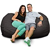 ULTIMATE SACK Lounger Bean Bag Chair: Giant Foam-Filled Furniture - Machine Washable Covers, Double Stitched Seams, Durable Inner Liner, and 100% Virgin Foam. Corner Chair. (Grey, Suede)
