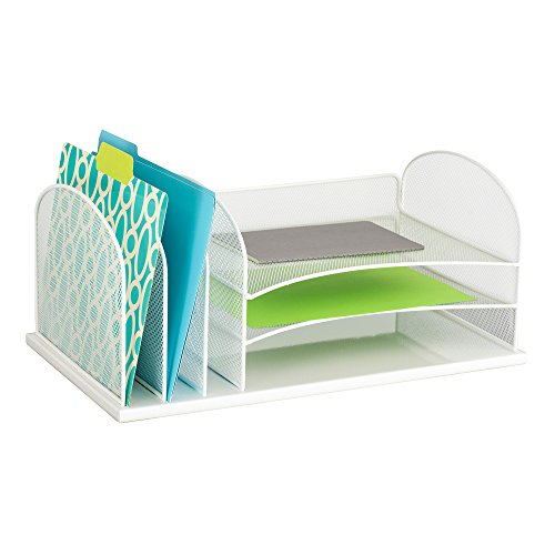 Safco Products Onyx Mesh 3 Sorter/3 Tray Desktop Organizer 3254WH,...