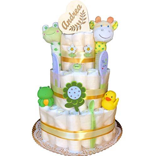 Tarta de pañales recién nacido niño o niña tres pisos modelo Dulce primavera con cajita de madera personalizada, sonajeros de felpa, muñecos para el baño, chupete, baberos, cuchara, peine y cepillo.