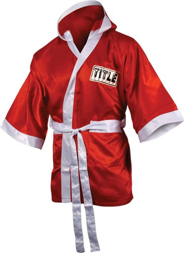 TITLE Boxing 3/4 Length Stock Satin Robe, Red/White, Small