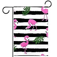 ガーデンサイン庭の装飾屋外バナー垂直旗ピンクのフラミンゴ鳥トロピカのリーバー オールシーズンダブルレイヤー