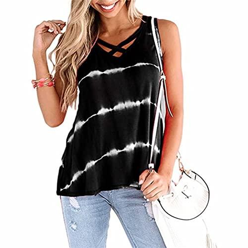 ZFQQ Summer Camiseta sin Mangas con Tirantes en el Pecho con Rayas diagonales Digitales para Mujer