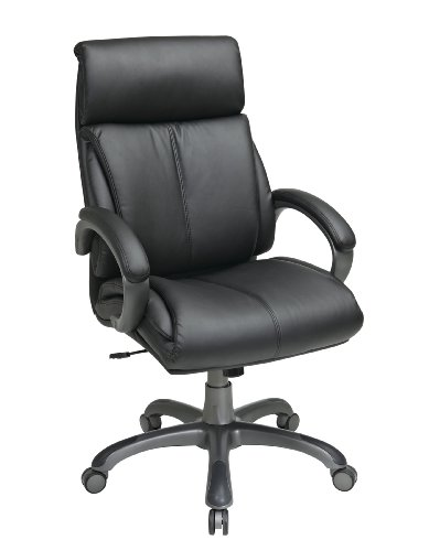 Office Star Executive Eco Leather Chair with Locking Tilt Control and Coated Base, Black Eco Leather Conference Chair