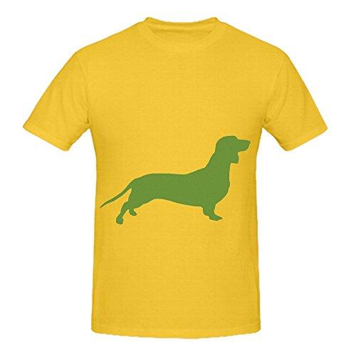 Verde de Perro Salchicha Art Hombres o Cuello Algodón T Shirt