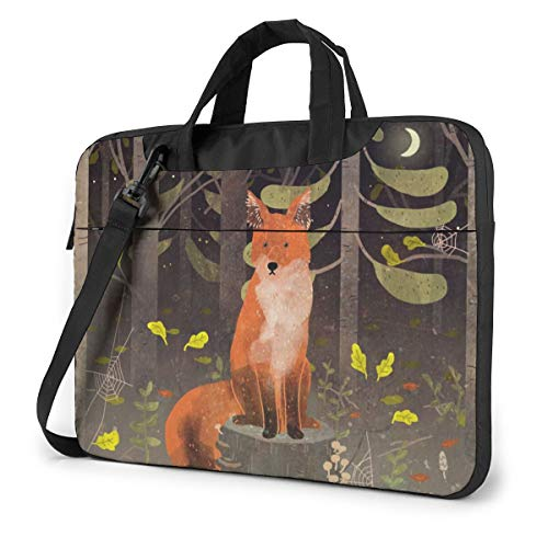 Cute Fox Forest Laptop Shoulder Messenger Bag, 15.6 Inch Multi-Functional Notebook Sleeve Carrying Case with Strap & Trolley Belt for Lenovo Acer Asus Dell Lenovo Hp Samsung Ultrabook Chromebook