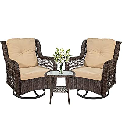 I-Choice 3-Piece Patio Furniture Wicker Rattan Bistro Furniture Set Outdoor Patio Conversation Set, 2 Swivel Rocking Cushioned Chairs with Glass Coffee Table