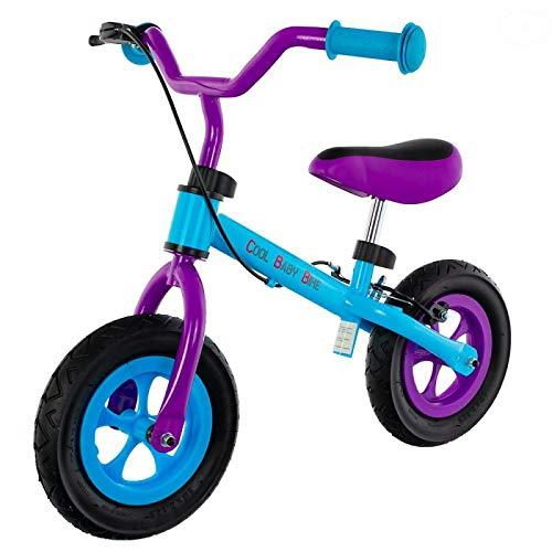 EUROBABY Bicicleta sin pedales Cool Air de 10 pulgadas, color azul y lila