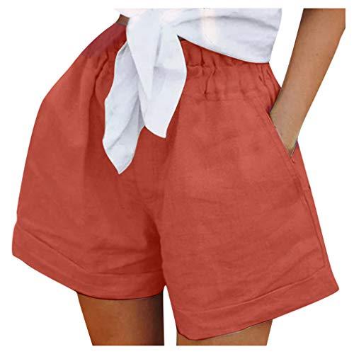 Pantalones cortos de lino para mujer, pantalones cortos sueltos a rayas, pantalones elásticos, rojo, 4XL