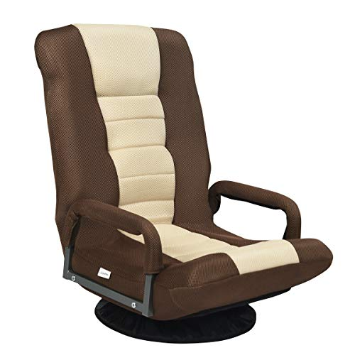 Giantex 360 Degree Swivel Gaming Chair Floor Chair, 6 Positions Adjustable Backrest, Mesh Fabric, Sturdy Iron Frame, Foldable Lazy Sofa Chair Comfortable for Lounge Reading Gaming Relaxing (Brown)