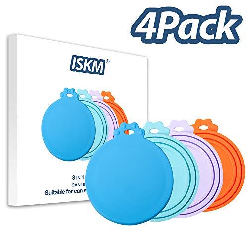 ISKM Silikon Deckel 4er Pack Sortierte Farben für Haustier Lebensmittel Dose 3 in1 Größe Flexibler Deckel Passt Alle Standard-Dose für BPA frei & FDA-Zertifiziert Haustiere (Blau Cyan Lila & Orange)