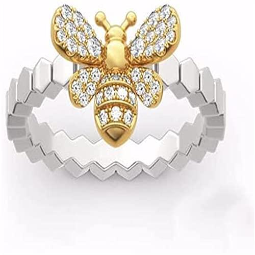 MTDBAOD Golden Bee & Honeycomb Ring,Diamond Golden Bee Honeycomb Ring for Women (7)