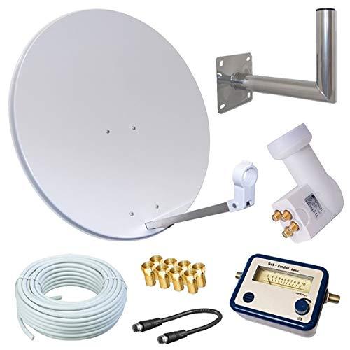 netshop 25 HD Sat Anlage 80cm Spiegel + Opticum Quad LNB für 4 Teilnehmer + 50m Kabel + 40cm Wandhalter + SAT Finder (3 Farben wählbar) SD HD Full HD 4K UHD Empfang