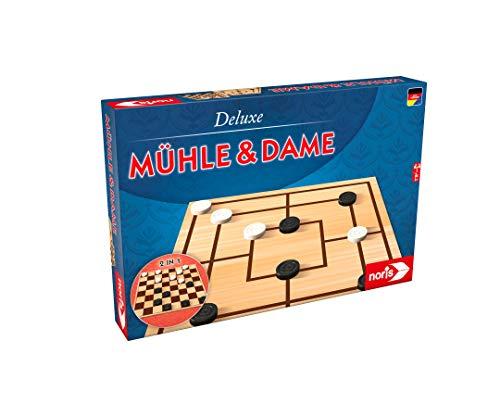 Noris 606008012 606108012-Deluxe-Mühle und Dame, Spieleklassiker