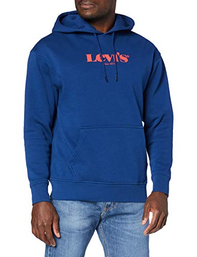 Levi's T3 Relaxd Graphic Sudadera con Capucha, Hm Hoodie Navy Peony, L para Hombre