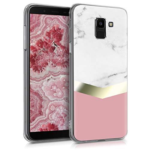 kwmobile Funda Compatible con Samsung Galaxy J6 - Carcasa de TPU y mármol clásico en Blanco/Dorado/Rosa Palo