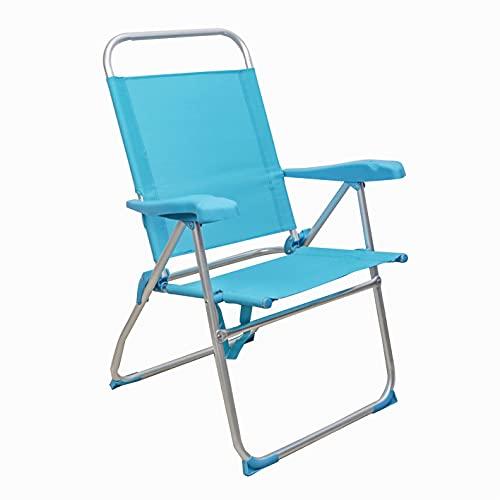 Arcoiris Sillas de Playa 5 Posiciones textileno, Silla de Playa Portátil, Plegable, Aluminio, Reclinable, para Llevar como Mochila, Silla de Exterior (1 Unidad, Azul Claro)