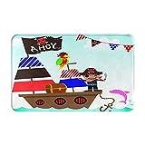 AMIGGOO Eingangsteppich Fußmatten,Nette Piraten-Kinder mit Schiff auf Ozean-MEE,Rutschfeste Easy Clean Badezimmermatte für Home Decor Fußmatte Decor