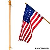 Anley 56' Pine Wooden House Flag Pole - for Sleeve House Flags (28'x 40') - Tangle Free Design, Rotating Rings and Anti-Wrap Tube (Flag and Flagpole Holder NOT Included)
