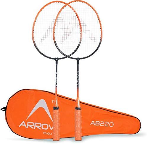 ArrowMax Stainless-Steel Junior Badminton Racquet Set for Kids (AB-220, G2-3.75 Inches, Orange)
